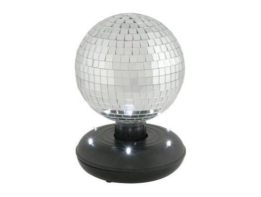 QTX 15cm Self Rotating Mirror Ball with LED Base