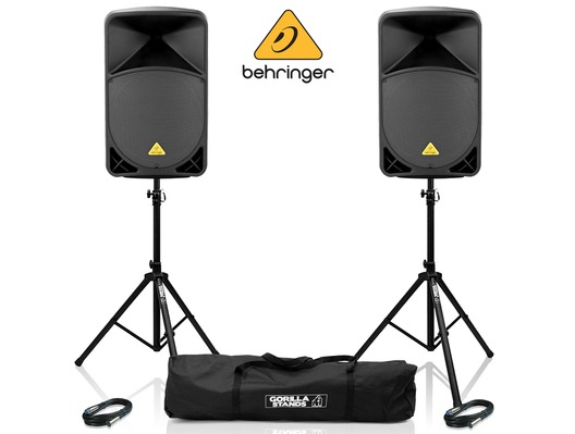 2x Behringer B115D Speakers with Stands & Cables