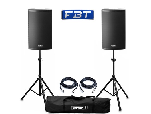 FBT X-Lite 12A (Pair) with Stands & Cables