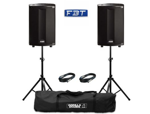 FBT ProMaxx 114a (Pair) with Stands & Cables