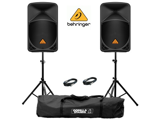 2x Behringer B112D Speakers with Stands & Cables