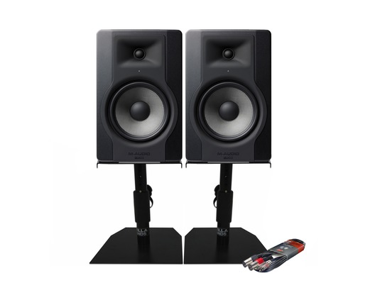 M-Audio BX8 D3 Monitors with Desktop Stands & Cable