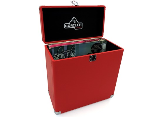 "Gorilla Retro LP-45 12"" Vinyl Record Storage Case (Phone Box Red)"