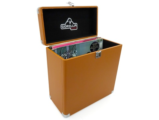 "Gorilla LP-45 Retro 12"" Vinyl Record  Storage Box (Tobacco)"