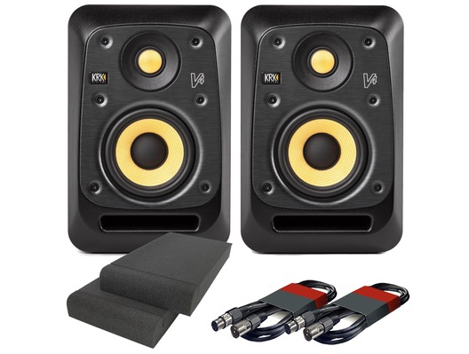 KRK V4S4 Black (x2) with Pads & Cables