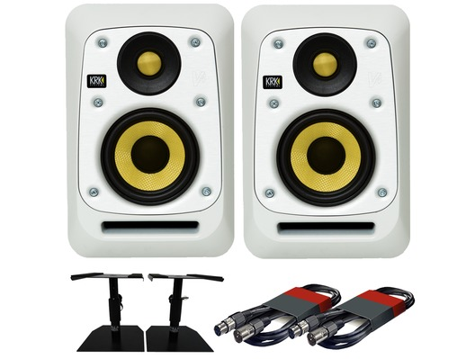 2x KRK V4S4 White Noise with GSM-50 Stands & Cables