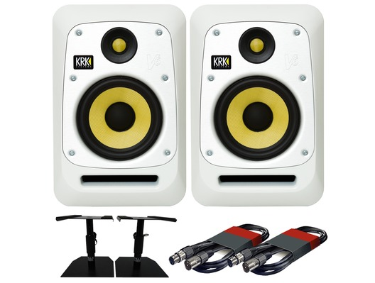 KRK V6S4 White Noise (Pair) with GSM-50 Stands & Cables
