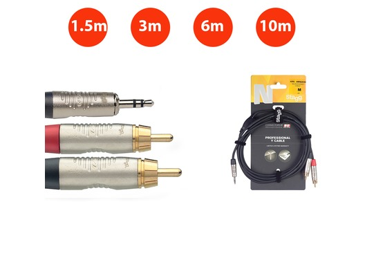 Stagg Professional Stereo Mini 3.5mm Jack to 2x RCA Lead