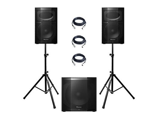 Pioneer XPRS 10 (Pair) & XPRS 115S with Stands & Cables Package