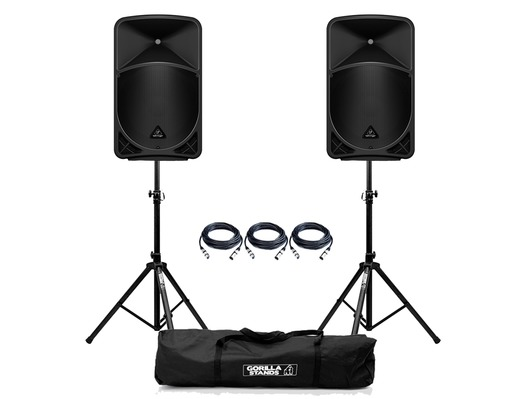 Behringer Eurolive B15X (Pair) with Stands & Cables Package