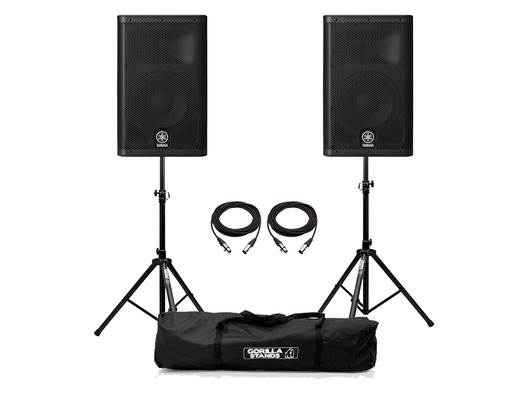 Yamaha DXR10 Active Speaker (Pair) with Stands & Cables Package
