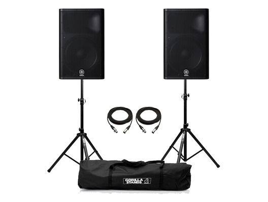 Yamaha DXR15 Speaker (Pair) with Stands & Cables Package