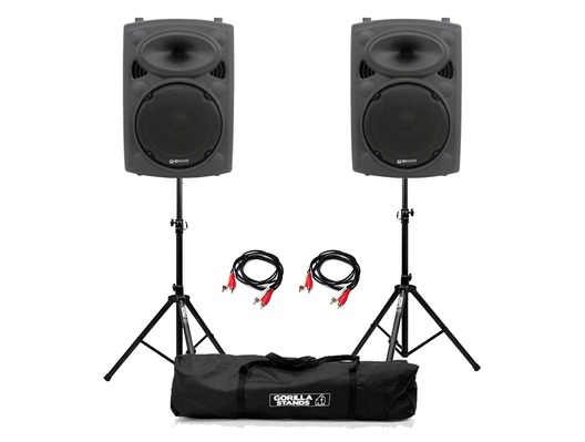 QTX QR10K (Pair) with Stands & Cables Package