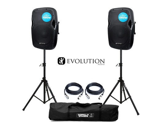 Evolution Audio RZ12A V3 Active Speakers (Pair) with Stands & Cables