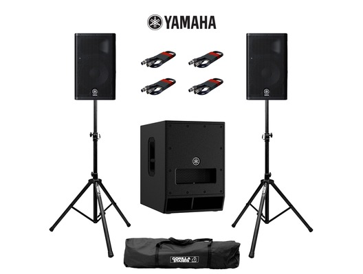 Yamaha DXR8 (Pair) & DXS12 MK2 with Stands and Cables