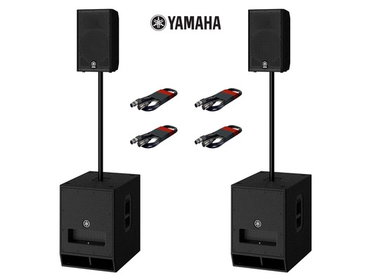 Yamaha DXR8 (Pair) & DXS12 MK2 (Pair) with Poles and Cables
