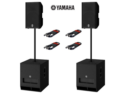 Yamaha DXR12 (Pair) & DXS15 MK2 (Pair) with Poles and Cables