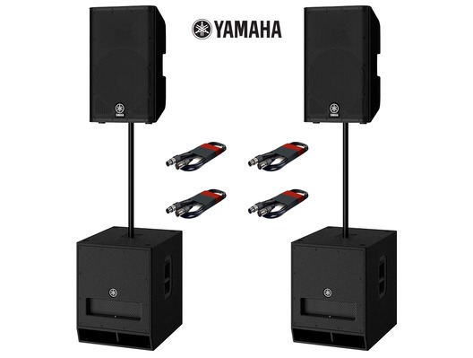 Yamaha DXR15 (Pair) & DXS15 MK2 (Pair) with Poles and Cables
