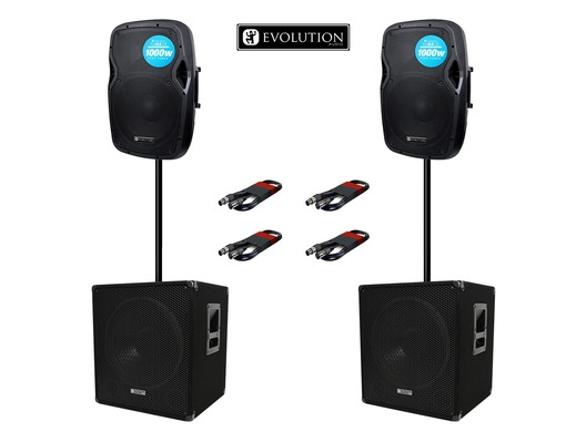 Evolution Audio RZ12A (x2) & EL SUB 15A (x2) with Poles & Cables