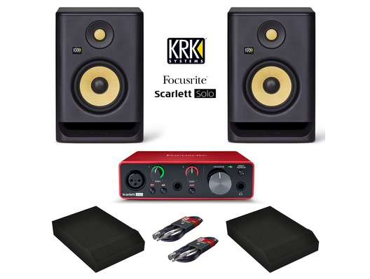 Focusrite Scarlett Solo (3rd Gen) + KRK Rokit RP5 G4 with Pads & Cables