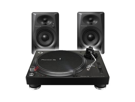 Pioneer DJ PLX-500 Essential Vinyl Package with DM-40 Speakers