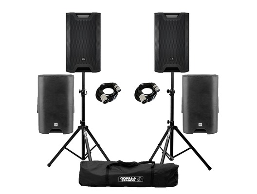 LD Systems ICOA 15A (x2) with Covers, Stands and Cables