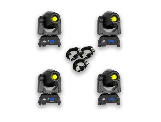 American DJ Focus Spot 2X (x4) + DMX Cables