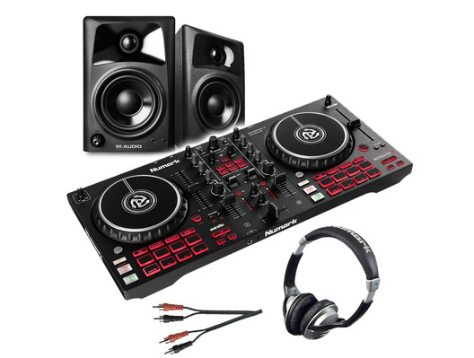 Numark Mixtrack Pro FX inc M-Audio AV32 Monitors, Headphones & Cable