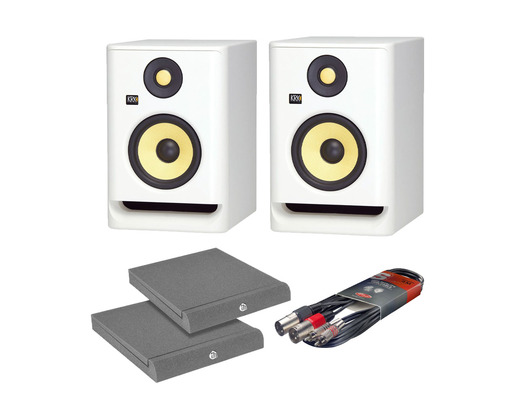 KRK RP8 G4 White Noise (Pair) with Isolation Pads + Cable