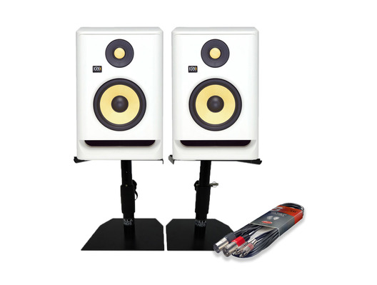 KRK RP8 G4 White Noise (Pair) with Monitor Stands & Cable