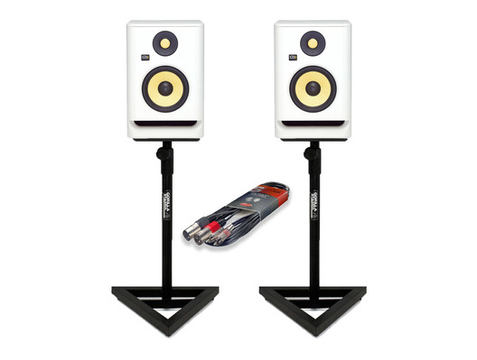 KRK RP8 G4 White Noise (Pair) with Studio Stands & Cable