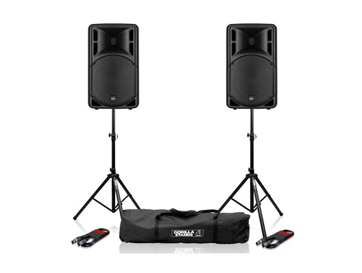 2x RCF Art 312-A MK4 Speaker with Stands & Cables