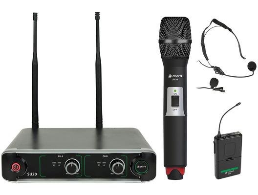 SU20 Dual UHF Combo Microphone Set Red + Green