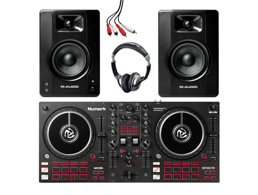 Numark Mixtrack Pro FX + M-Audio BX3 (Pair) w/ Headphones + Cable