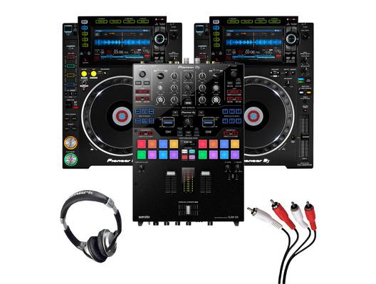 Pioneer CDJ-2000 NXS2 (Pair) + DJM-S9 w/ Headphones + Cable