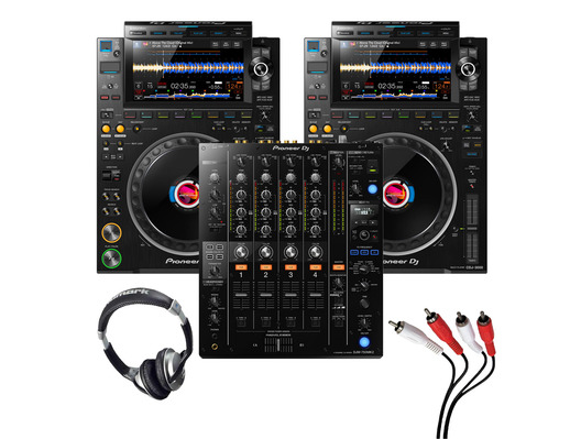 Pioneer CDJ-3000 (Pair) + DJM-750 MK2 w/ Headphones + Cable