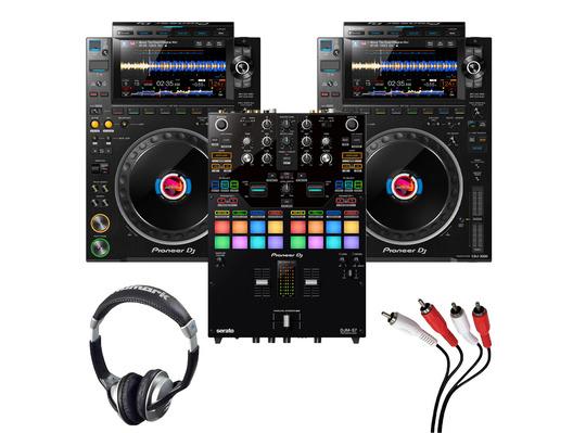 Pioneer CDJ-3000 (Pair) + DJM-S7 w/ Headphones + Cable
