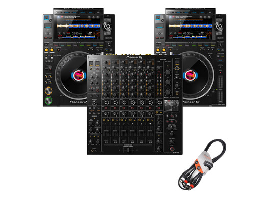 Pioneer CDJ-3000 (x2) + DJM-V10 w/Cable Bundle