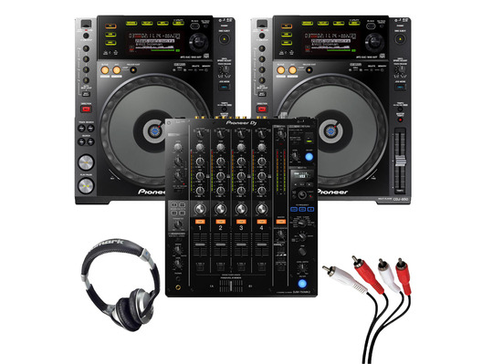 Pioneer CDJ-850 (Pair) + DJM-750MK2 w/ Headphones + Cable