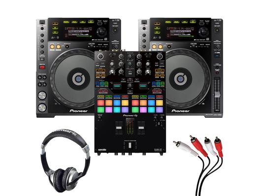 Pioneer CDJ-850K (Pair) + DJM-S7 w/ Headphones + Cable