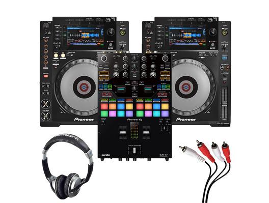 Pioneer CDJ900 Nexus (Pair) + DJM-S7 w/ Headphones + Cable