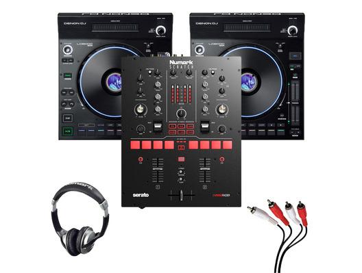 Denon LC6000 Prime (Pair) + Numark Scratch Mixer w/ Headphones + Cable