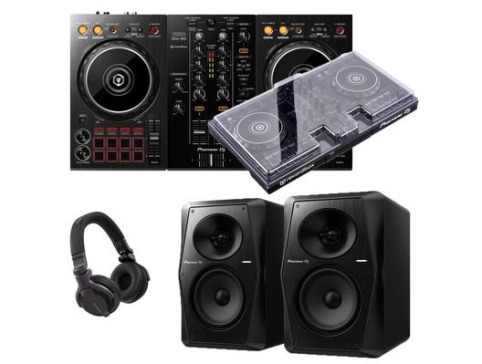 Pioneer DJ DDJ-400 + VM-50 w/ Decksaver & Headphones