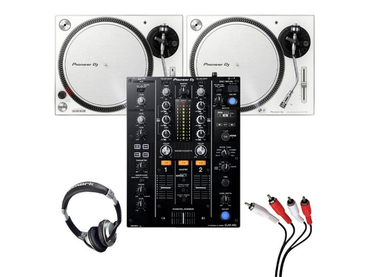 Pioneer PLX-500 (Pair)+ DJM-450 w/ Headphones + Cable