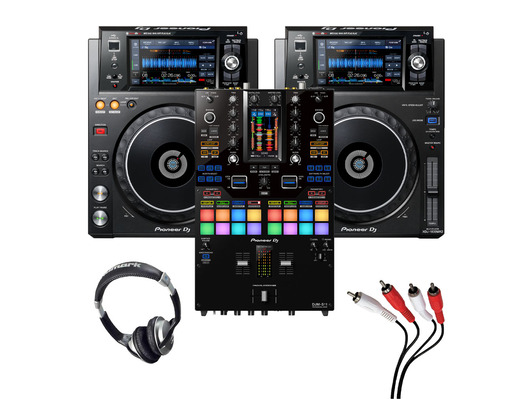 Pioneer XDJ-1000 MK2 (Pair) + DJM-S11 w/ Headphones + Cable