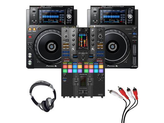 Pioneer XDJ-1000 MK2 (Pair) + DJM-S11 SE w/ Headphones + Cable