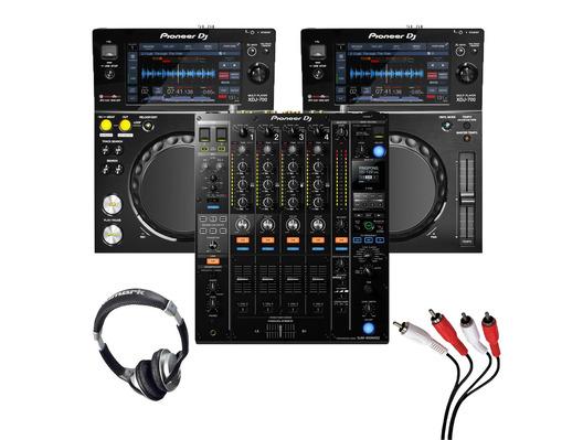 Pioneer XDJ-700 (Pair) + DJM-900 NXS2 w/ Headphones + Cable