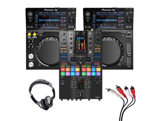 Pioneer XDJ-700 (Pair) + DJM-S11 SE w/ Headphones + Cable